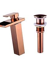 Changement de couleur Set de centre Jet pluie with  Soupape céramique 1 trou for  Or rose , Robinet lavabo