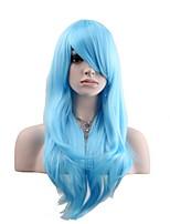 жен. Парики из искусственных волос Без шапочки-основы Длиный Естественные волны Небесно-голубой Парик из натуральных волос Карнавальные