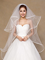 Women's Wedding Veil Four-tier Fingertip Veils Lace Ribbon Edge Tulle Bridal Veil White