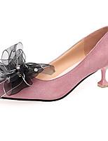 Для женщин Обувь на каблуках Удобная обувь Кашемир Лето Повседневные Для прогулок Цветы На шпильке Черный Розовый 4,5 - 7 см