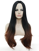 Dark to Auburn Ombre Long Straight Center Part Full Synthetic Party Wig Women's Wig