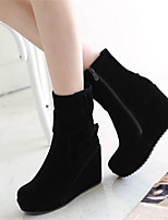 Women's Boots Comfort Nubuck leather PU Fall Winter Casual Comfort Black 4in-4 3/4in