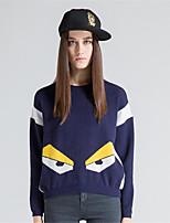 Для женщин На каждый день Простое Короткий Пуловер С принтом,Круглый вырез Длинный рукав Шерсть Искусственный шёлк Полиэстер Осень Зима