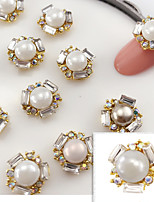 5PCS 11mmX11mm Fashion  Pearl Inlay  Alloy Accessories Nail Art Decoration Jewelry Charms