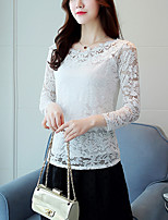 Women's Going out Work Cute Street chic Spring Fall Slim Lace Blouse Embroidery Round Neck Long Sleeve White Medium