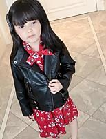 Девочки Куртка / пальто Полиуретановая Хлопок Однотонный Весна Осень Длинный рукав