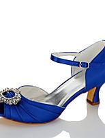 Femme Sandales Confort Satin Eté Automne Mariage Habillé Soirée & Evénement Strass Talon Aiguille Bleu 5 à 7 cm