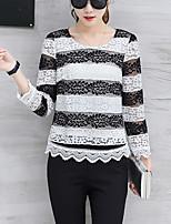 Для женщин На выход Весна Осень Блуза Круглый вырез,Уличный стиль Вышивка Длинный рукав,Искусственный шёлк Полиэстер,Средняя