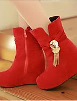 Damen Schuhe PU Winter Komfort Stiefel Für Normal Beige Braun Rot