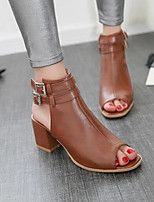 Women's Shoes PU Spring Comfort Heels Chunky Heel For Casual Beige Brown