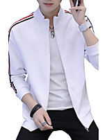 Men's Plus Size Casual Slim Stand Collar Striped Zipper Sweatshirt Cotton Spandex