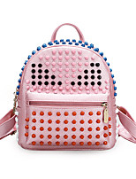 Women Bags All Seasons PU Backpack with for Casual Sports Outdoor Blue White Black Blushing Pink
