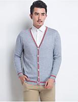 Standard Pullover Da uomo-Casual Tinta unita Con stampe A V scollato Manica lunga Lana Primavera Autunno Medio spessore Media elasticità