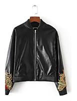 Для женщин На выход На каждый день Осень Зима Кожаные куртки Воротник-стойка,Простой Уличный стиль С принтом Обычная Длинный рукав,Другое,