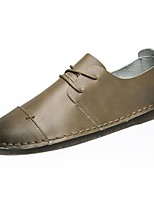 Men's Oxfords Comfort Spring Fall PU Casual Lace-up Flat Heel Khaki Dark Grey Black Flat