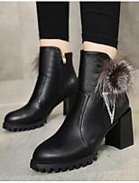 Для женщин Ботинки Удобная обувь Армейские ботинки Натуральная кожа Полиуретан Зима Повседневные Черный Красный Менее 2,5 см