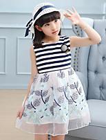 Girl's Solid Floral Dress,Cotton Summer Sleeveless