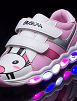 Girls' Sneakers Light Soles Light Up Shoes Fall Winter Leatherette Casual Outdoor LED Low Heel Green Pink/White Black/White Under 1in