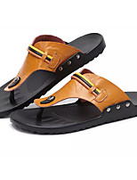 Men's Sandals Comfort Light Soles PU Spring Summer Casual Flat Heel Light Brown Brown Black Under 1in