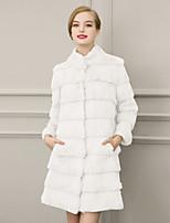 Women's Fashion Wrap Faux Fur Wedding Party/ Evening / Casual Long Sleeve Fur Coats/Jacket Pockets