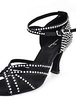 Women's Latin Silk Sandals Performance Crystals/Rhinestones Stiletto Heel Brown Black 3