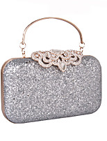 Women Evening Bag leatherette All Seasons Wedding Event/Party Formal Minaudiere Rhinestone Sequined MiniSpot Snap Silver Gold