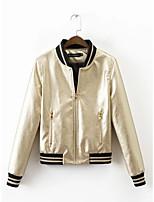 Для женщин Спорт На выход На каждый день Осень Зима Кожаные куртки Воротник-стойка,Уличный стиль Однотонный Полоски Обычная Длинный рукав,
