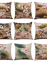 Set of 9 Chinese Painting Lotus  Pattern Linen Cushion Cover Home Office Sofa Square Pillow Case Decorative Cushion Covers Pillowcases (18*18)