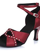 Damen Latin Satin Sandalen Absätze Professionell Verschlussschnalle Stöckelabsatz Dunkelrot 5 - 6,8 cm Maßfertigung