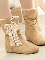 Для женщин Обувь Полиуретан Зима Модная обувь Ботинки На танкетке Ботинки Назначение Повседневные Черный Бежевый Желтый