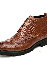 Men's Shoes Leatherette Fall Winter Comfort Boots Mid-Calf Boots With Lace-up For Casual Office & Career Red Brown Black
