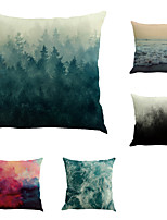Set Of 5 Creative Sea Wave Forest Printing Pillow Cover Fashion Cotton/Linen Pillow Case Home Decor