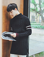 Men's Going out Casual/Daily Regular Pullover,Solid Stand Long Sleeves Polyester Spandex Others Spring Fall Medium Micro-elastic