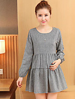 Women's Plus Size Loose Dress,Color Block Round Neck Above Knee 3/4 Length Sleeves Others Summer Mid Rise Micro-elastic Medium
