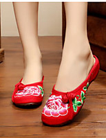 Women's Shoes Canvas Summer Comfort Slippers & Flip-Flops For Casual Black Red Green