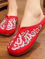 Для женщин Обувь Ткань Лето Удобная обувь Тапочки и Шлепанцы Назначение Повседневные Черный Красный Синий