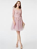 Princesse bijou col longueur de genou tulle cocktail robe de soirée avec appliques châle / ruban