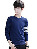 Men's Plus Size Vintage Simple Regular Pullover,Solid Striped Round Neck Long Sleeves Cotton Fall Winter Medium Micro-elastic