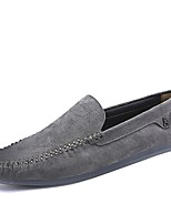 Men's Loafers & Slip-Ons Light Soles Spring Fall Leather Suede Pigskin Casual Office & Career Flat Heel Black Gray Khaki Flat
