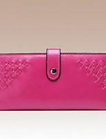 Women Checkbook Wallet Cowhide All Seasons Round Zipper Fuchsia