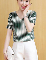 Для женщин На каждый день Лето Блуза V-образный вырез,Простое Полоски С короткими рукавами,Другое