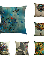 Set Of 6 Nature Colorful Butterfly Pillow Case Creative Vintage Linen Pillow Cover