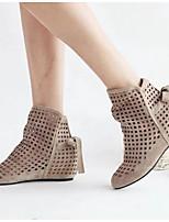 Для женщин Ботинки Удобная обувь Лето Полиуретан Повседневные Бежевый Красный На плоской подошве
