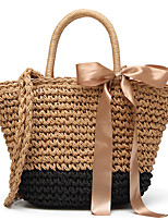 Women Bags All Seasons Straw Tote with Bow(s) for Wedding Event/Party Casual Sports Formal Outdoor Office & Career Black Gray Brown