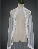 Wedding Veil One-tier Fingertip Veils Cut Edge Lace Applique Edge Scalloped Edge Lace Tulle