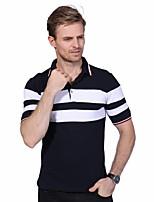 Men's Plus Size Fashion Slim Turn-down Collar Striped Short Sleeved Polo Shirt Cotton Spandex