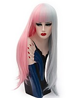 Women Synthetic Wigs Capless Long Straight Pink / Purple Natural Wig Party Wig Halloween Wig Carnival Wig Costume Wig