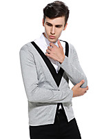 Men's Going out Casual/Daily Simple Regular Cardigan,Color Block V Neck Long Sleeves Cotton Spring Fall Medium Stretchy