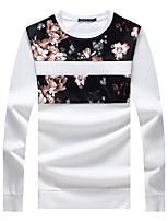 Men's Plus Size Casual Slim Round Neck Floral Patchwork Sweatshirt