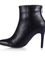 Для женщин Обувь на каблуках Ботильоны Полиуретан Весна Осень Для праздника Для вечеринки / ужина Черный 9,5 - 12 см